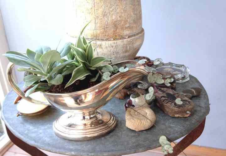 bloempot kiezen- zilveren juskom