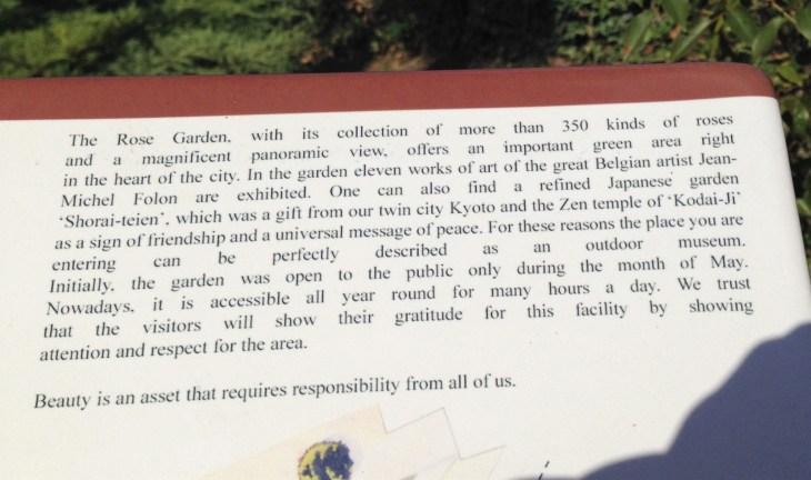 florence rose garden plaque