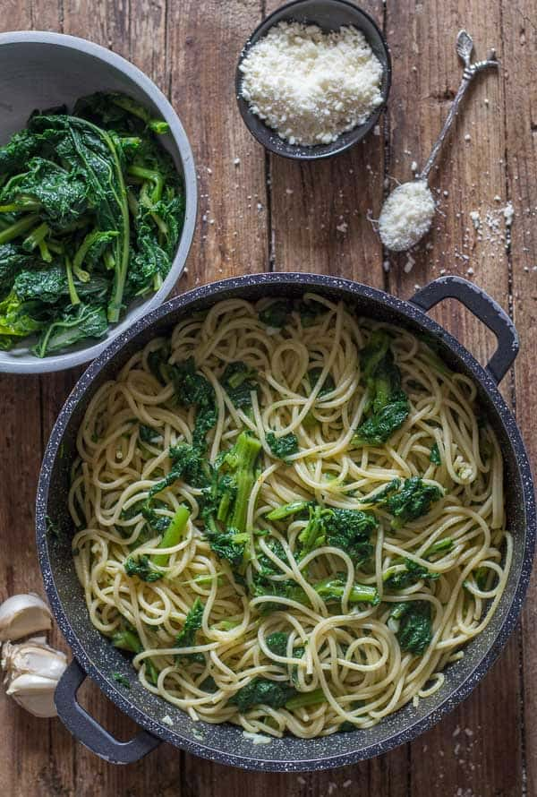 Italian Broccoli Rabe Pasta is a quick, easy, healthy Italian Pasta Recipe. Garlic, olive oil and a sprinkling of Parmesan make it perfect.