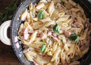 Creamy Mushroom Ham Pasta, a deliciousy, easy, creamy, pasta dish, Italian style, ready in 20 minutes. A new family favorite.