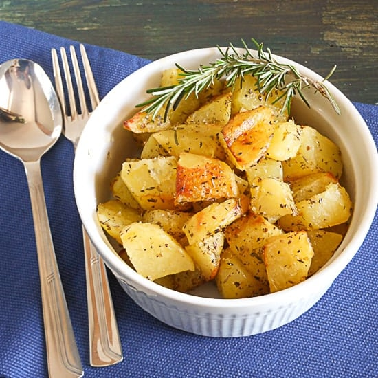 Roasted Potatoes with Rosemary, easy, oven baked delicious potatoes. The perfect anytime Italian potato recipe. Great with fish,chicken,beef anything.|anitalianinmykitchen.com