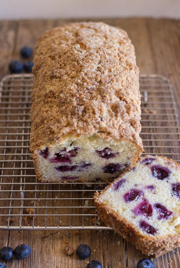 Blueberry Streusel Loaf, an easy sweet bread, filled with blueberries and topped with a crunchy buttery topping,breakfast,snack or anytime.