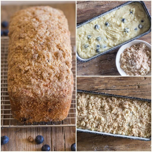 photos how to make blueberry streusel loaf