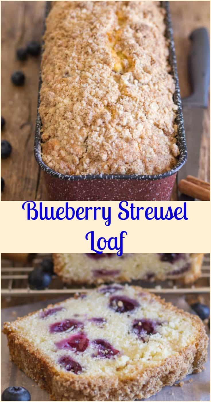 Blueberry Streusel Loaf, an easy #moist #cake type sweet #loaf, filled with #blueberries and topped with a crunchy buttery #crumb topping, #breakfast, #snack or anytime.