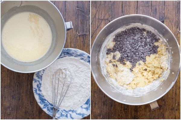 how to make a ricotta cake batter and whisked dry ingredients and in a bowl with the chocolate chips