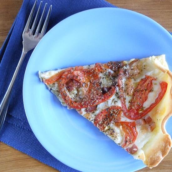 Tomato, cheese and pancetta pie