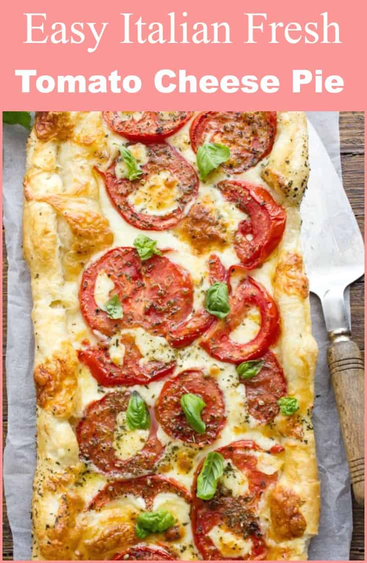 Easy Italian Fresh Tomato Cheese Pie, a delicious Italian healthy summer savory pie recipe, the perfect appetizer or main dish.