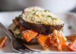 eggplant sandwich on a white plate
