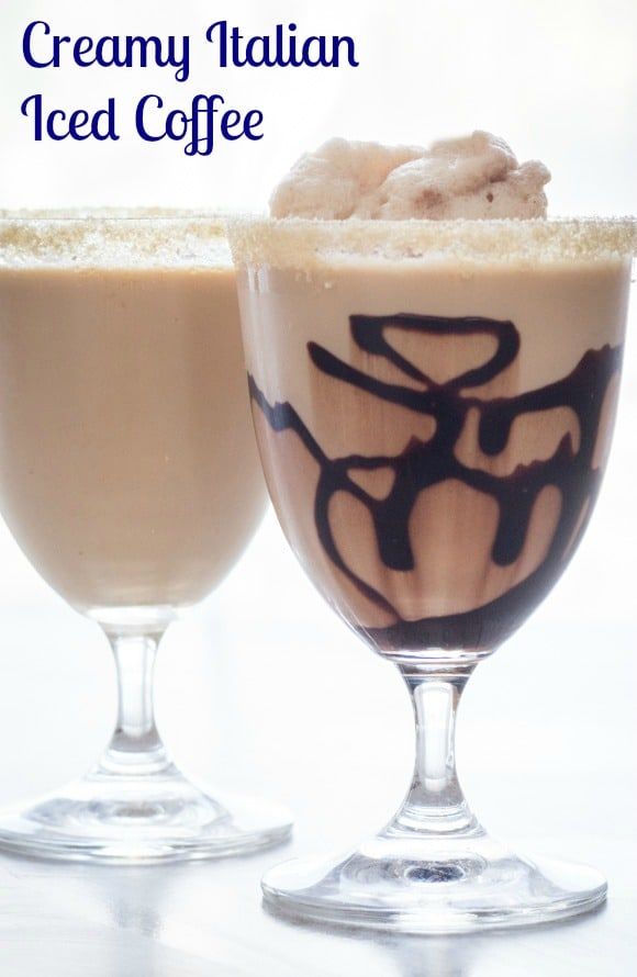 The Perfect Creamy Chocolate Italian Iced Coffee, the best, fast & easy homemade iced coffee.  No more need for you know who's!