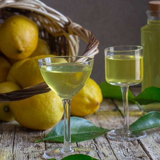 limoncello in two glasses