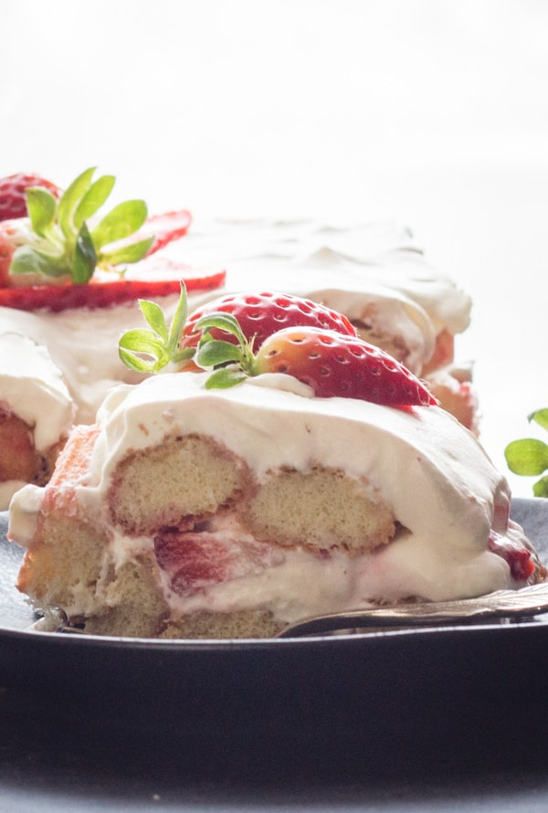 Strawberry Tiramisu, No bake and delicious.