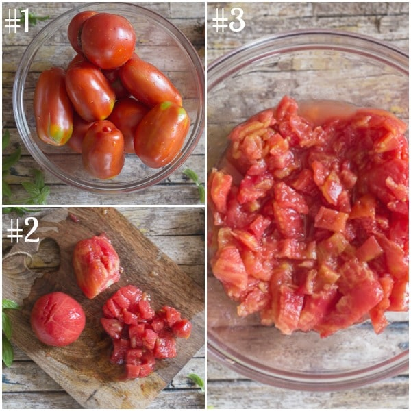 fresh tomato sauce how to make whole tomatoes and cut in a bowl