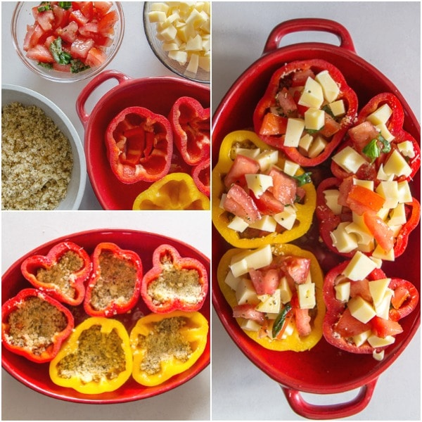 stuffed peppers how to make the ingredients, bread crumb mixture in the peppers, ready for baking