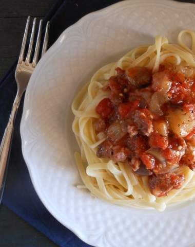 tomato, eggplant and sausage pasta