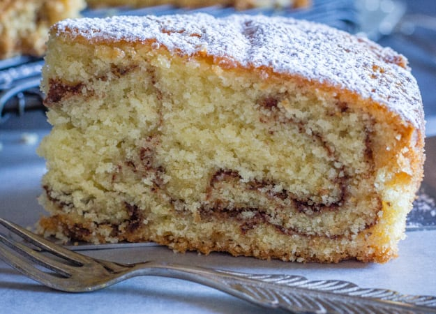 an up close of a slice of simple easy cinnamon cake