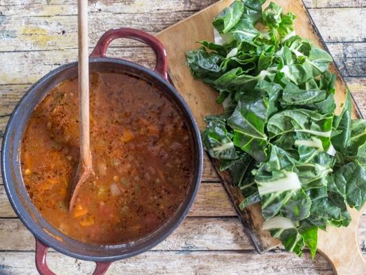 bean soup and chopped swiss chard