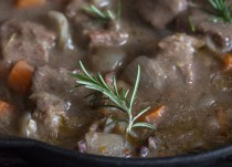 up close white wine sauce beef recipe
