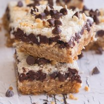 magic cookie bars one stacked on another