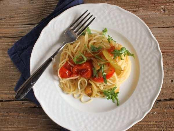 Sautéed Vegetables and Spaghetti