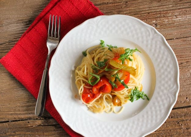 sauteed vegetables and spaghetti