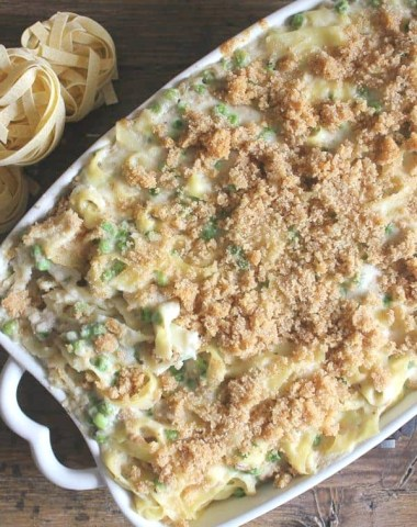 tuna noodle casserole baked in a white baking dish