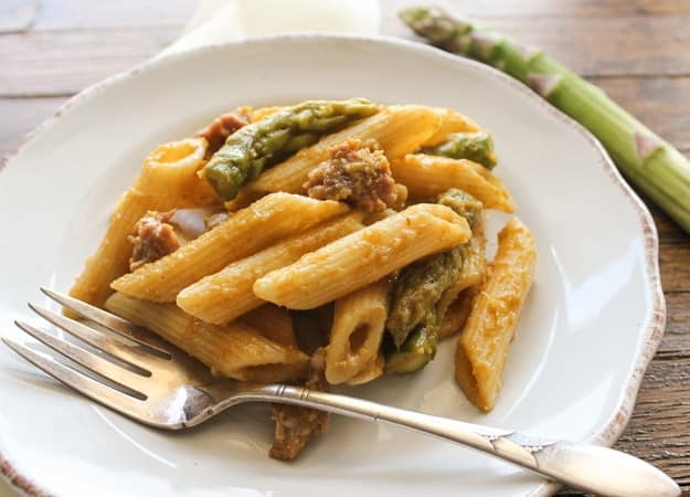 penne with sausage and asparagus cream sauce