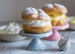 baked bigne with whipped cream and italian pastry cream
