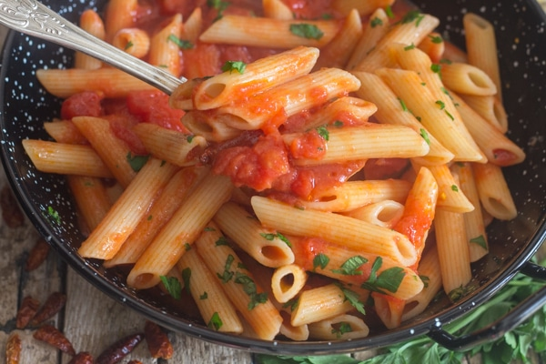 a spoonful of pasta arrabiata