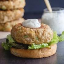 up close tuna burger with dill mayonnaise sauce