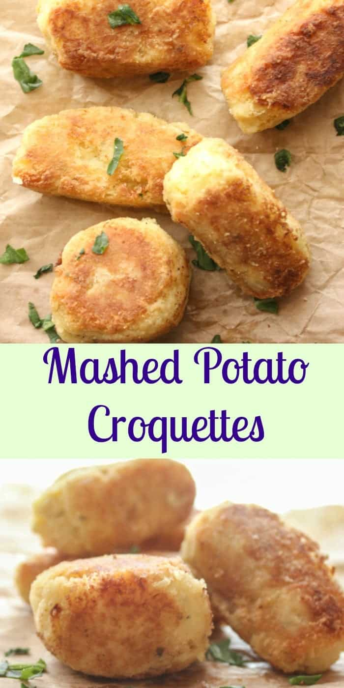 Mashed Potato Croquettes, leftover mashed potatoes become the most delicious side dish with these crunchy on the outside and soft on the inside croquettes.|anitalianinmykitchen.com