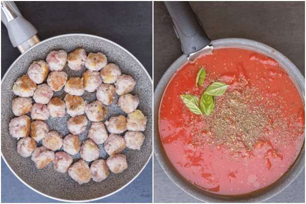 fried mini meatballs and sauce in a black frying pan