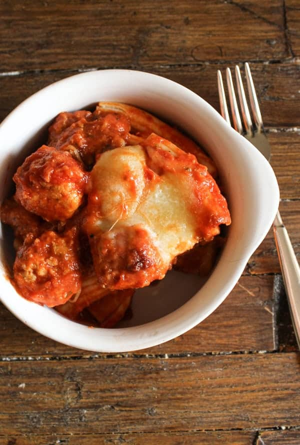 mini turkey meatball cheesy baked pasta/anitalianinmykitchen.com