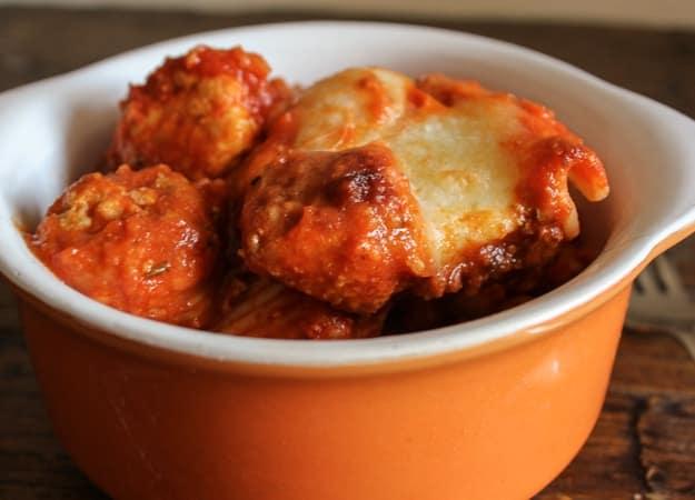 mini turkey meatball cheesy baked pasta