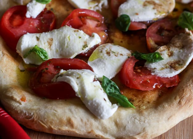 up close no yeast pizza dough caprese