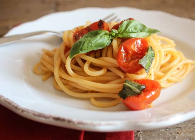spaghetti with oven dried Parmesan tomatoes