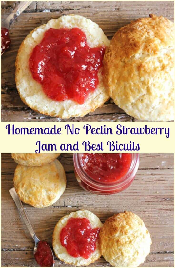 Homemade No Pectin Strawberry Jam and Best Biscuits, easy strawberry jam without pectin,and a fast and easy buttery biscuits recipe. #strawberryjam #nopectin #biscuits #jam #breakfast