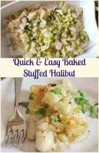 Quick and Easy Baked Stuffed Halibut, a delicious healthy baked fish recipe. A moist fish dish with a crunchy buttery bread topping.