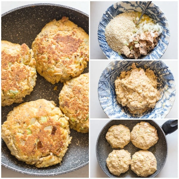 healthy salmon burgers how to make ingredients in a bowl, mixed, before cooking and after cooking
