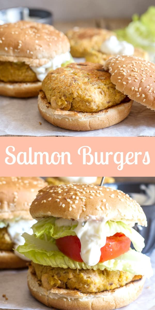 Healthy Salmon Burgers the perfect quick and easy lunch or dinner meal. Use canned salmon, serve with this delicious Greek Yogurt dill sauce. #salmonburgers #easyrecipe #healthy #fastrecipe #fish #lunch #easyfastdinner