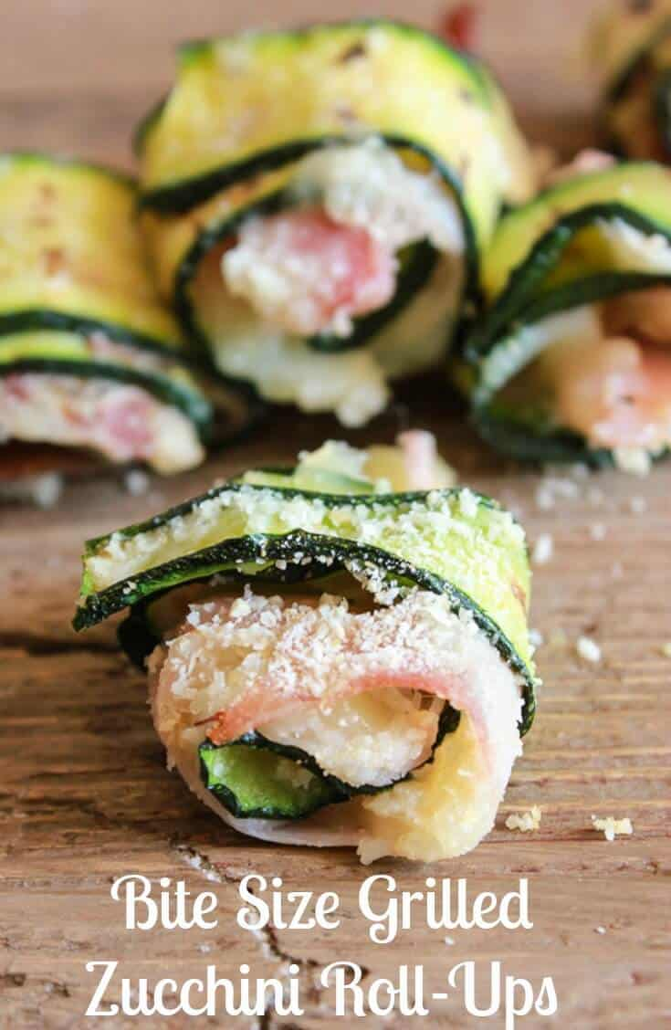 Bite Size Grilled Zucchini Roll-Ups are the perfect appetizers, a fast, easy and delicious recipe. Great anytime or even when entertaining.