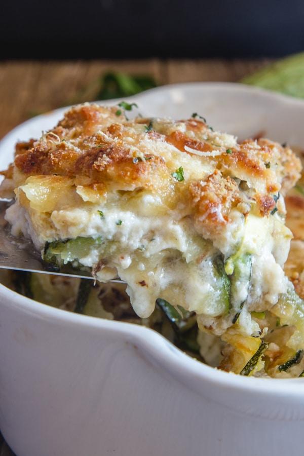 a slice of zucchini lasagna
