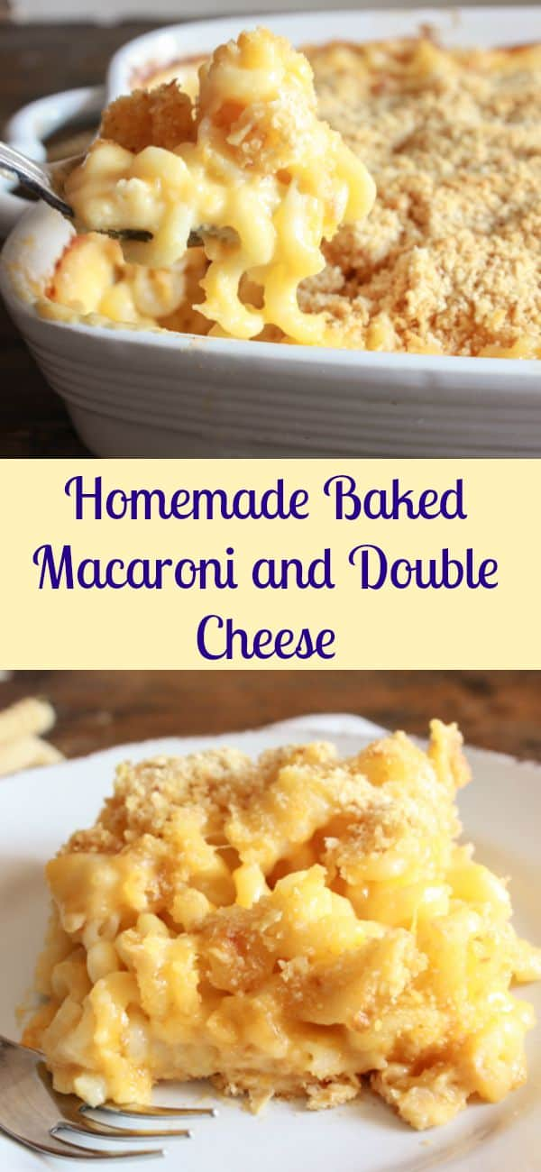 Homemade Baked Macaroni and Double Cheese, a delicious macaroni and cheese baked casserole recipe, the best easy cheesy macaroni family dish/anitalianinmykitchen.com