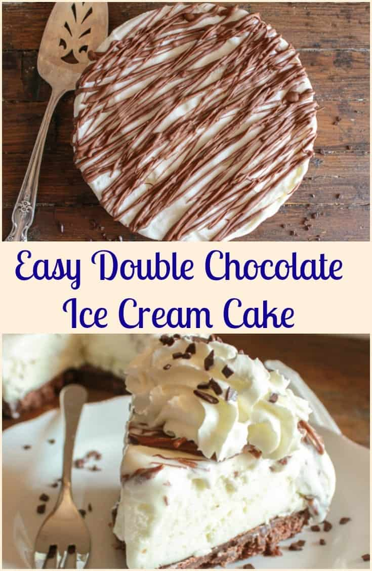 Easy Double Chocolate Ice Cream Cake, the perfect easy summer ice cream cake dessert recipe, cookie crumb base and your favorite ice cream.