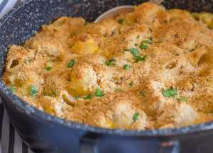 out of the oven in the skillet baked macaroni double cheese
