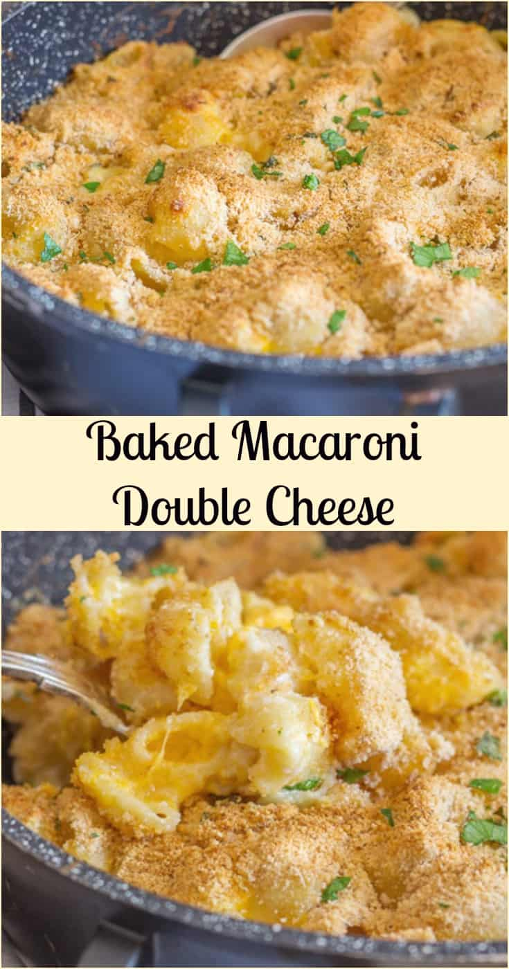 Baked Macaroni Double Cheese, a #homemade #easy #creamy #mac & cheese recipe, a crunchy topping makes it perfect. The whole family will love it.