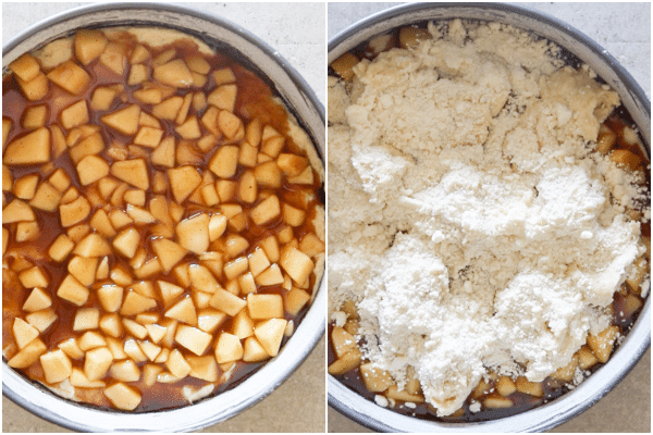 adding the apple filling and topping to the apple streusel cake