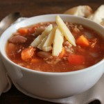 Italian Crockpot Two Bean Chili Soup, an easy chili soup recipe. The perfect comfort food. A healthy two bean delicious Italian Fall dinner anitalianinmykitchen.com