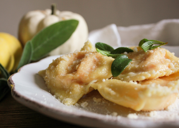 Creamy Squash Filled Ravioli, homemade Italian ravioli recipe with a tasty butternut/pumpkin filling, and a simple butter parmesan sauce.|anitalianinmykitchen.com