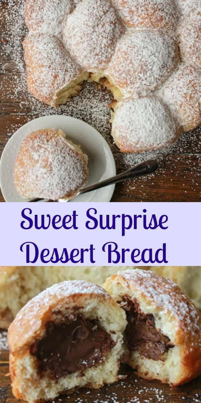 Sweet Surprise Dessert Bread, a delicious pull apart bread stuffed with different fillings. Perfect for breakfast or dessert kid friendly.|anitalianinmykitchen.com