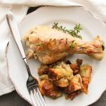 Baked Chicken Pieces and Stuffing, a delicious alternative to stuffed turkey, half the time and just as delicious. A family comfort food dinner recipe.|anitalianinmykitchen.com